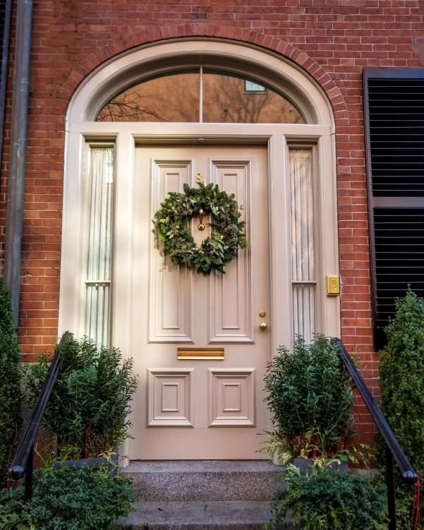 Photo 2: Christmas decorations on a door in Beacon Hill, Boston, MA