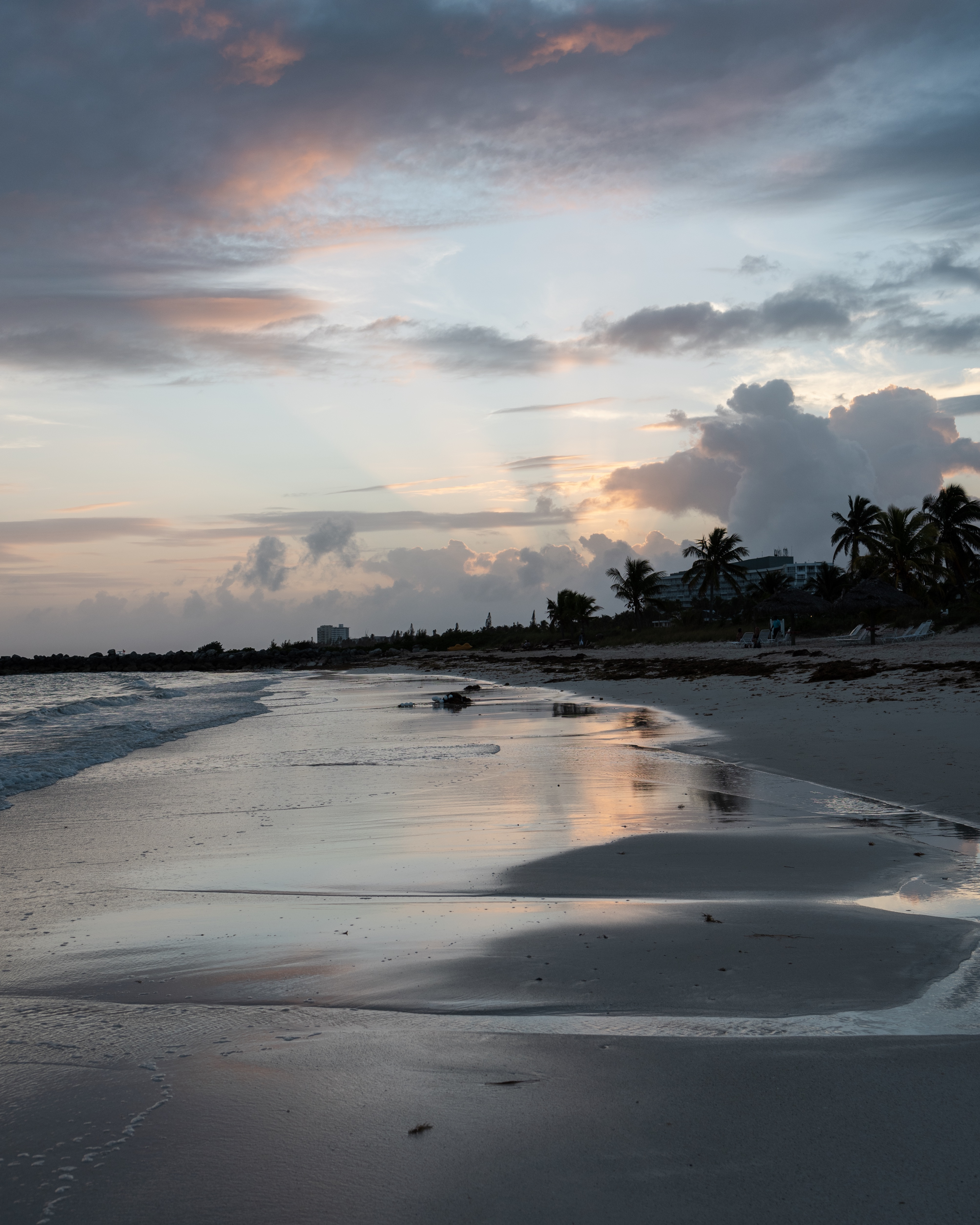 Sunset from the beach in The Bahamas