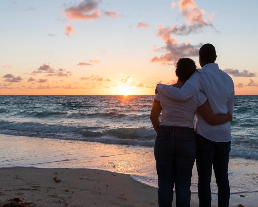 Sunset gazing at Taino Beach, Freeport, Bahamas